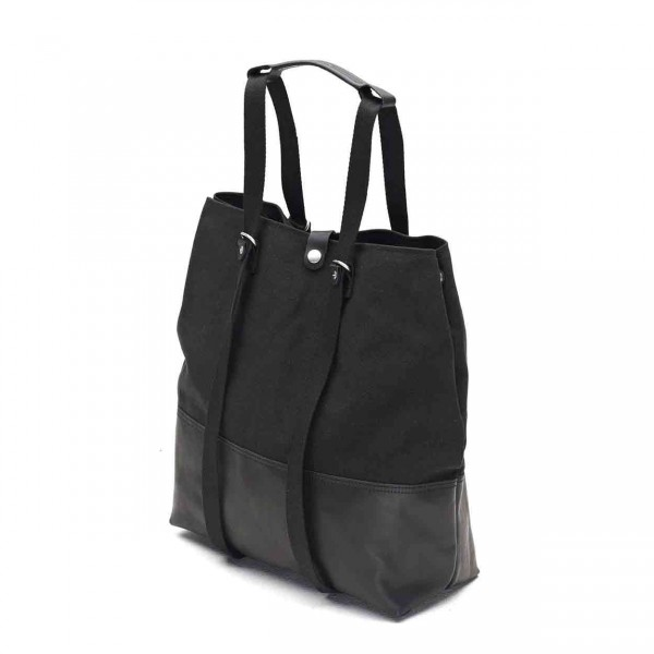 Qwstion Shopper Tasche black leather canvas Ansicht 3