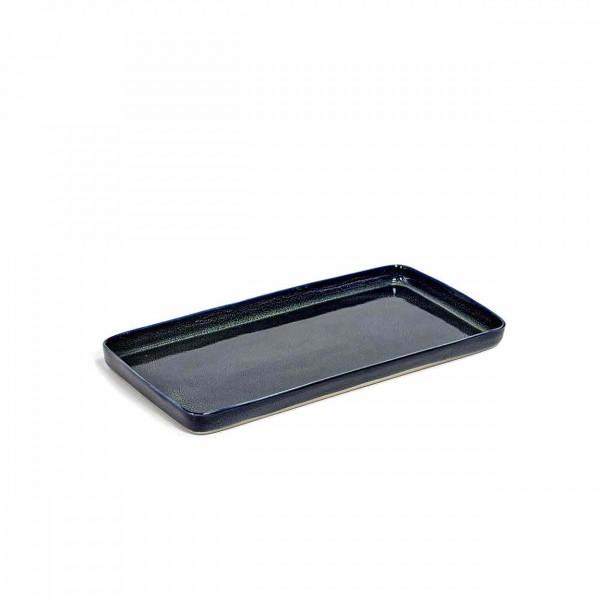 Serax Plate large rechteckig dark blue