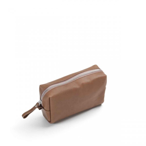 Qwstion Amenity Pouch Kulturbeutel brown leather canvas Ansicht 1
