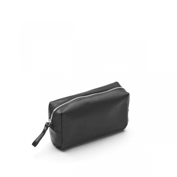 Qwstion Amenity Pouch Kulturbeutel Black Leather Canvas Ansicht 1