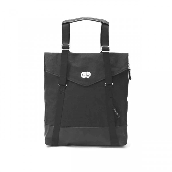 Qwstion Tote Tasche black leather canvas Ansicht 2