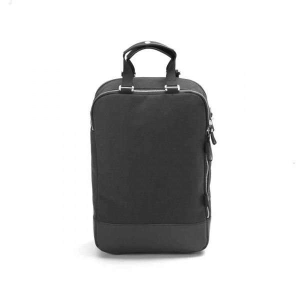 Qwstion Daypack Rucksack black leather canvas Ansicht 1
